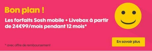 Sosh : box + mobile à partir de 24,99€