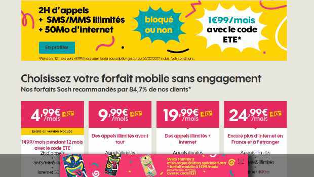 Sosh Mobile 2H à 1,99€/mois pendant 1 an