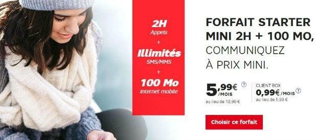Starter mini à 0,99€ chez SFR