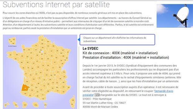 La carte des subventions pour l'accès à Internet par Satellite pour les zones blanches ou grises