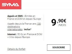 Syma Mobile : forfait 50 Go pas cher