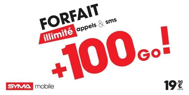 Syma Mobile : forfait 100 Go pas cher