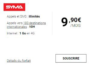 Forfaits 1 ou 2 Go : Syma mobile