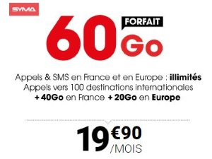 Syma mobile : appels internationaux inclus