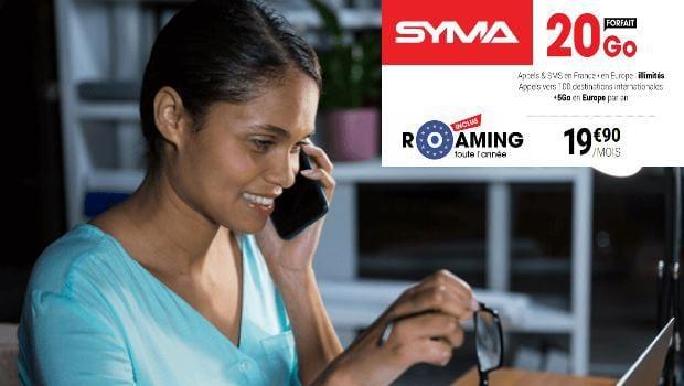 Syma mobile, forfait ajusté data 19,90€ en roaming 365 jours