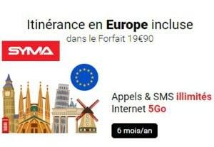 Syma : appels/SMS illimités + 5 Go six mois par an