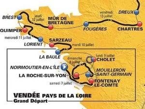 Le parcours du Tour de France dans l'Ouest