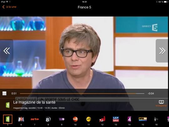 Flux TV Orange en plein écran sur une tablette