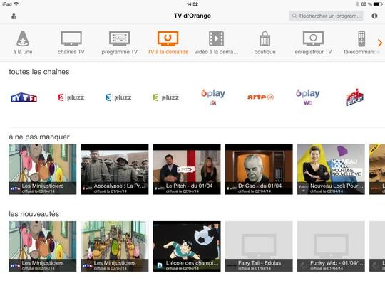 Portail Replay depuis l'appli TV d'Orange sur iPad