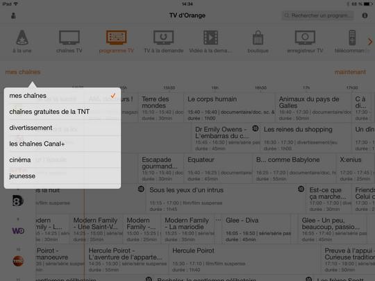 EPG par filtres sur l'appli Orange