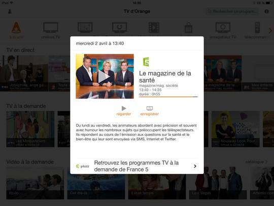 enregistrement depuis l'appli TV d'Orange sur iOS