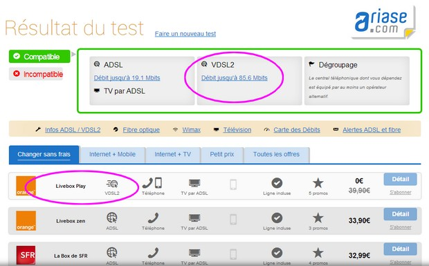 Test VDSL2 sur Ariase