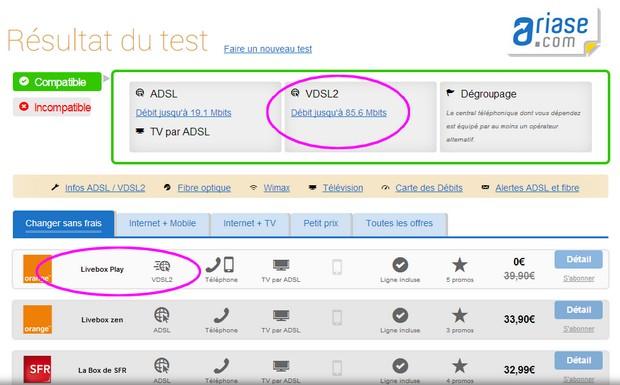Le test d'éligibilité Ariase est compatible avec le VDSL2 d'Orange