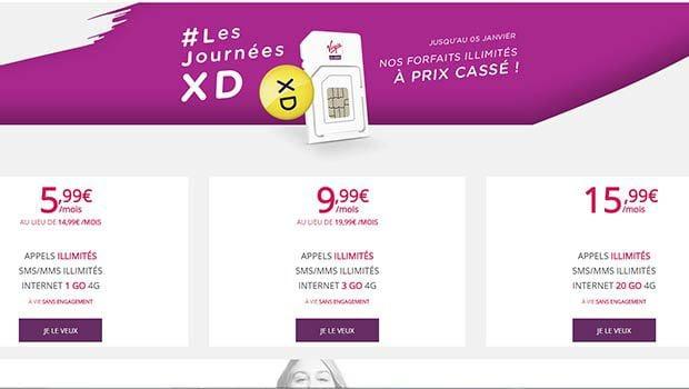 à ou 10 euros de réductions sur deux forfaits data Virgin Mobile
