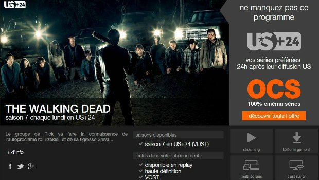 Le bouquet OCS sur la TV d'Orange avec The Walking Dead