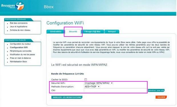 Changer le mot de passe du réseau wifi