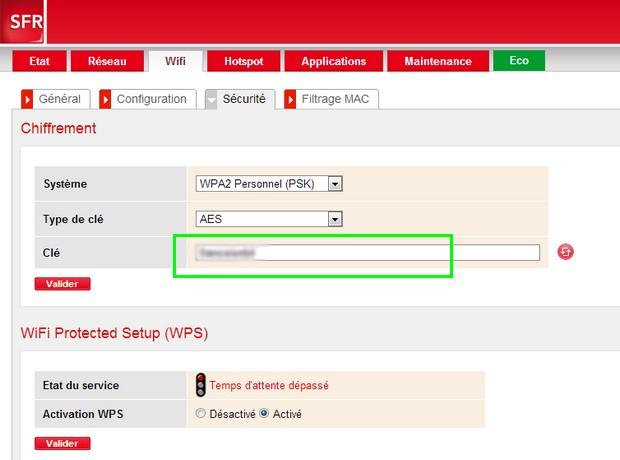 Interface web du modem Box de SFR