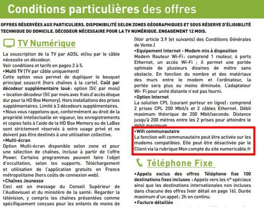 CGV Numericable WiFi communautaire