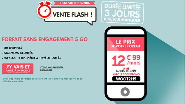 NRJ Mobile Woot 2 heures 5 Go à 12,99€