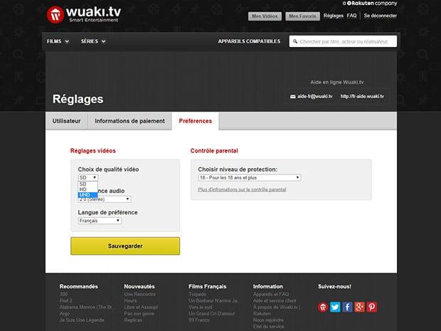 Wuaki.TV : contrôle parental, contenus en SD/HD/UHD