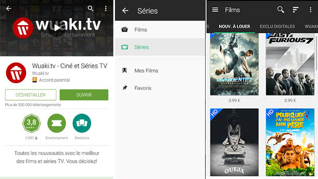 L'application Wuaki.tv disponible sous Android et iOS