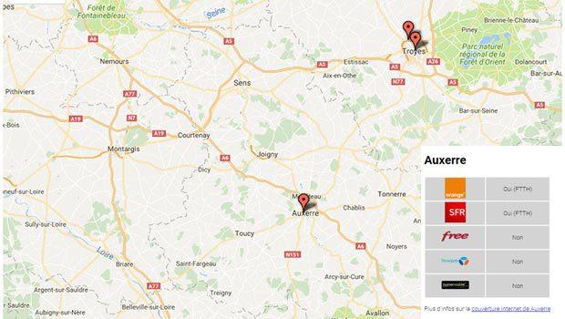 Orange et SFR en fibre sur Auxerre... mais pas partout