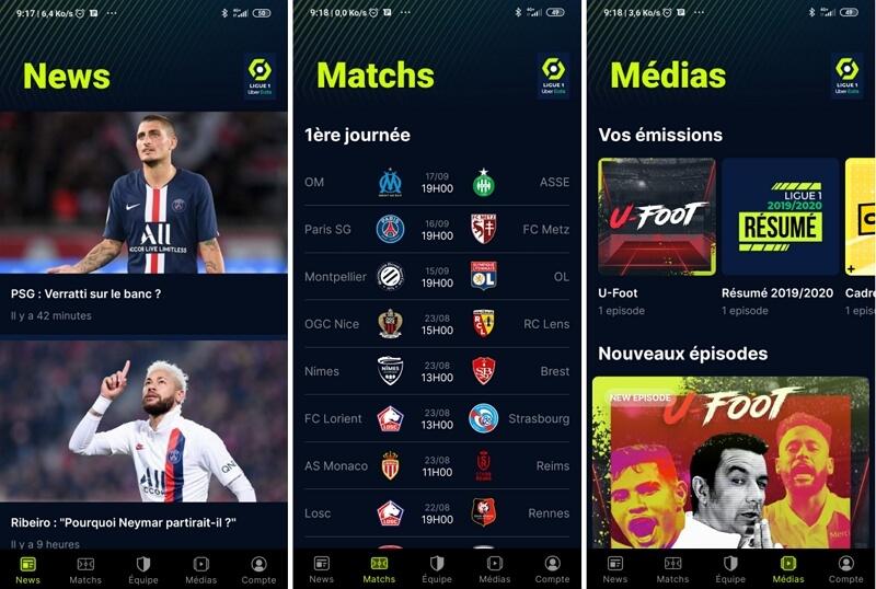 L'application Free Ligue 1 : actus, calendrier et magazines