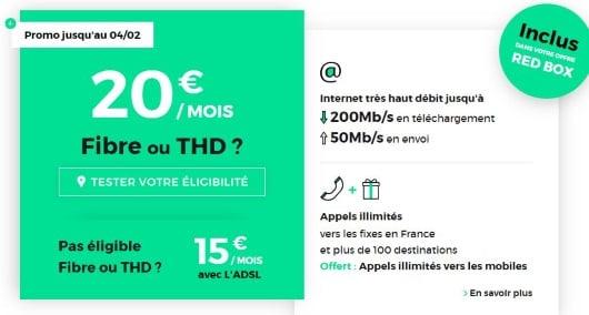 La Box Internet RED fibre à 20 euros par mois, sans hausse de prix au bout de 12 mois