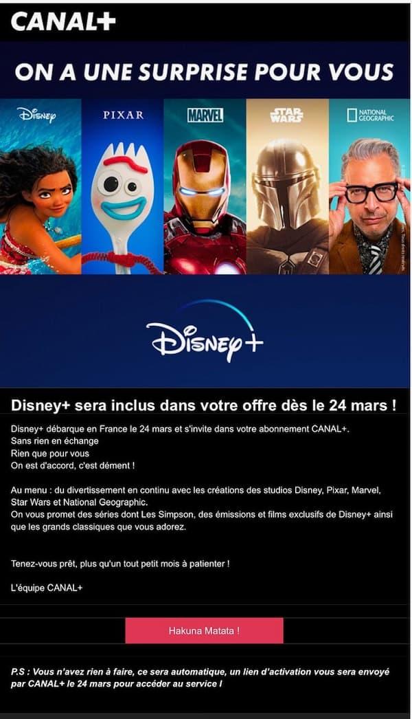 Disney+ inclus gratuitement dans le pack Ciné Séries de Canal+