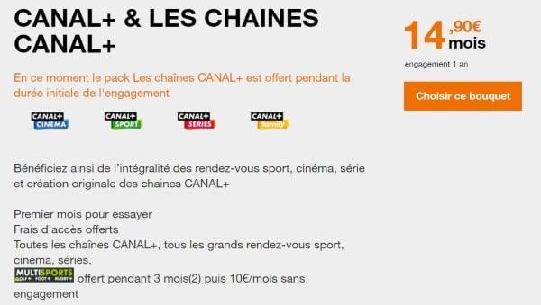 Les chaînes Canal Plus à prix réduit pour les abonnés Orange fibre en août 2019