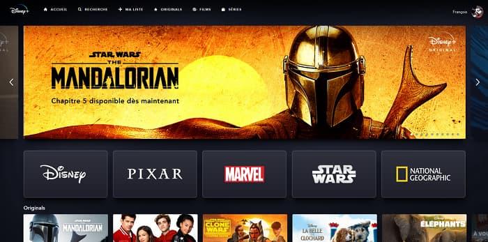 L'interface de Disney+ est parfaitement claire