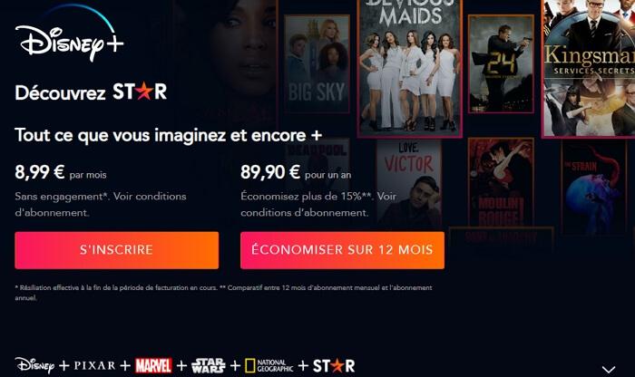 Prix de Disney+ sur TV Samsung : 8,99 euros par mois