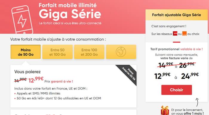 Giga Série Prixtelel : forfait 50 Go en promotion jusqu'au 30 juin 2020