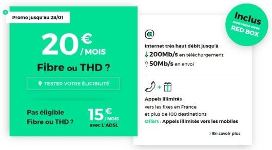 Les abonnements Internet pas cher de RED, avec appels vers les mobiles inclus jusqu'au 28 janvier 2019