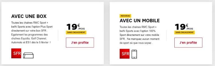 Plus Sport pour les clients SFR box et mobile : RMC Sport et BeIN Sports à 19 euros par mois