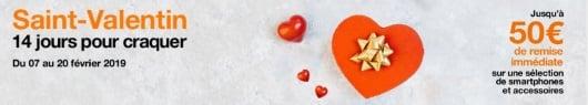 Cadeau saint-valentin : jusqu'à 50 euros de remise chez Orange