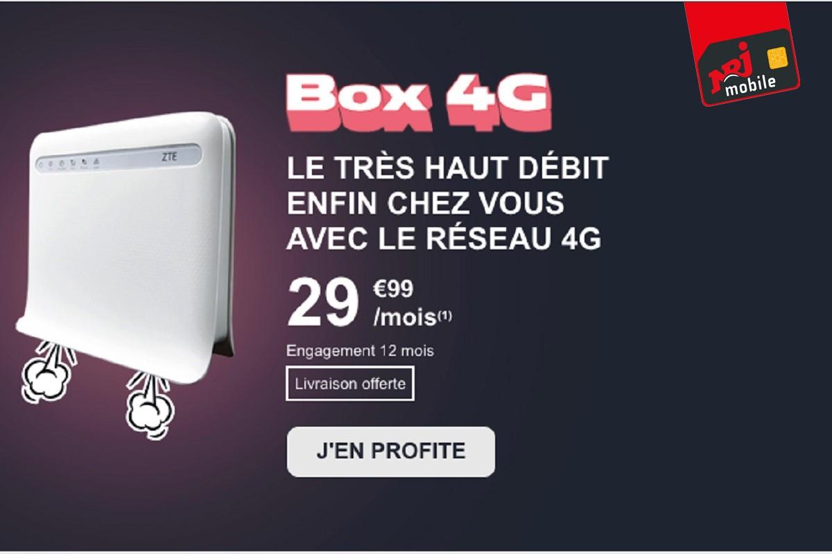 La box 4G NRJ Mobile est une solution pour avoir le très haut débit en cas de mauvaise connexion en ADSL et en l'absence de la fibre.