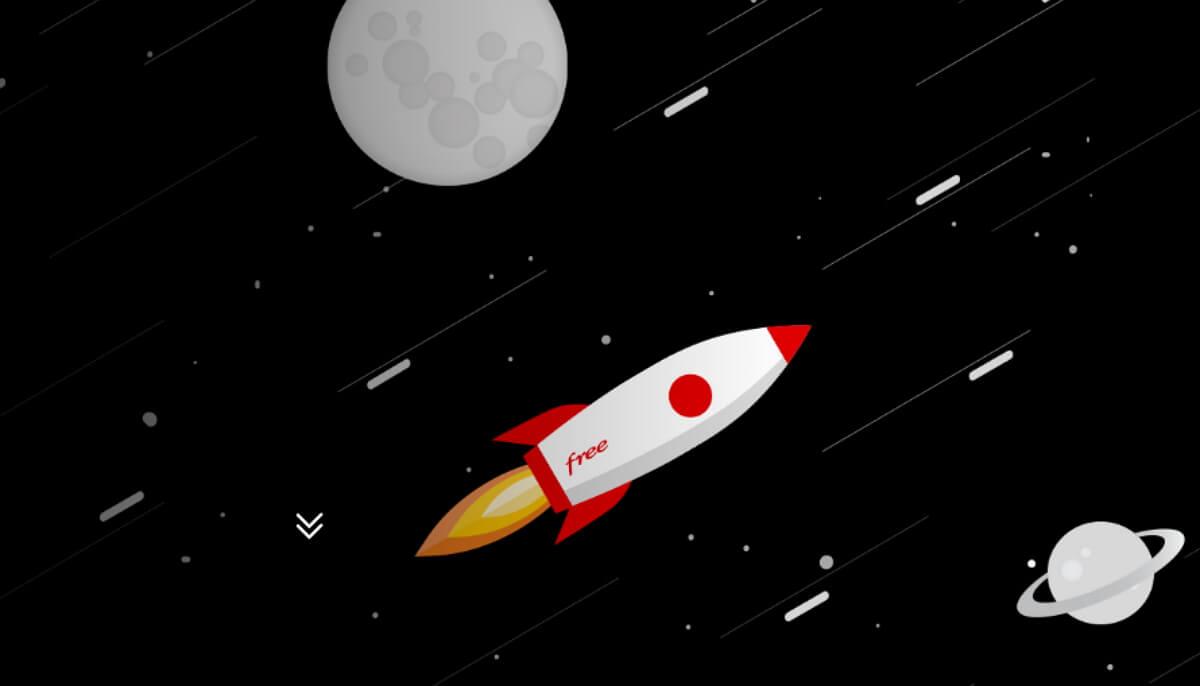 Une fusée dans l'espace portant le logo Free pour illustrer l'arrivée rapide de la fibre