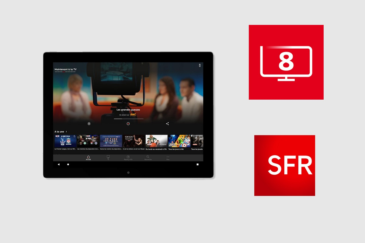 L'application SFR TV 8 sur tablette et smartphone Android et iOS