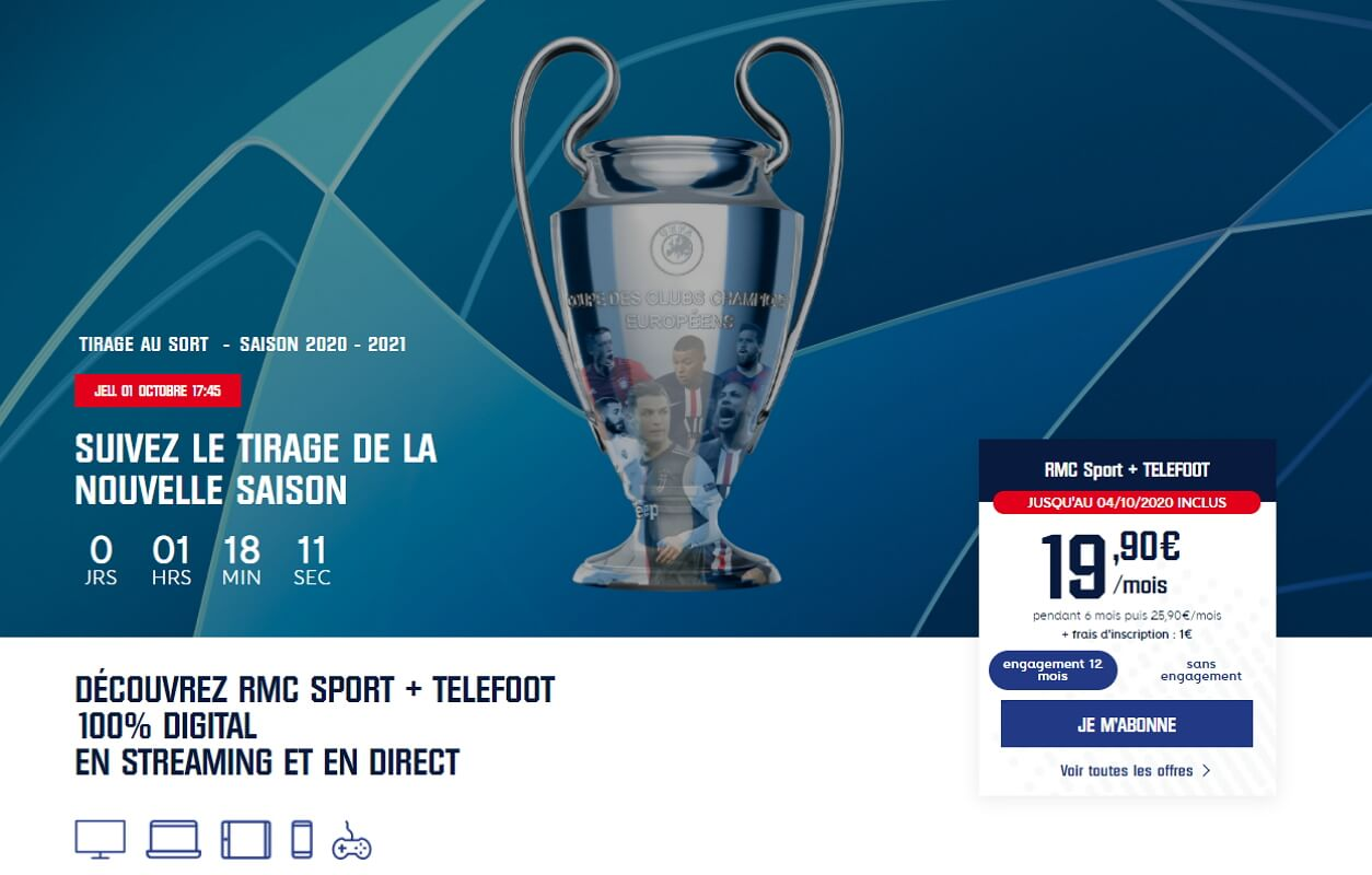 Téléfoot avec RMC Sport : promotion à 19,90 euros par mois