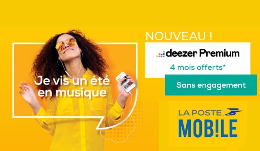 Deezer offert 4 mois avec les forfaits La Poste Mobile