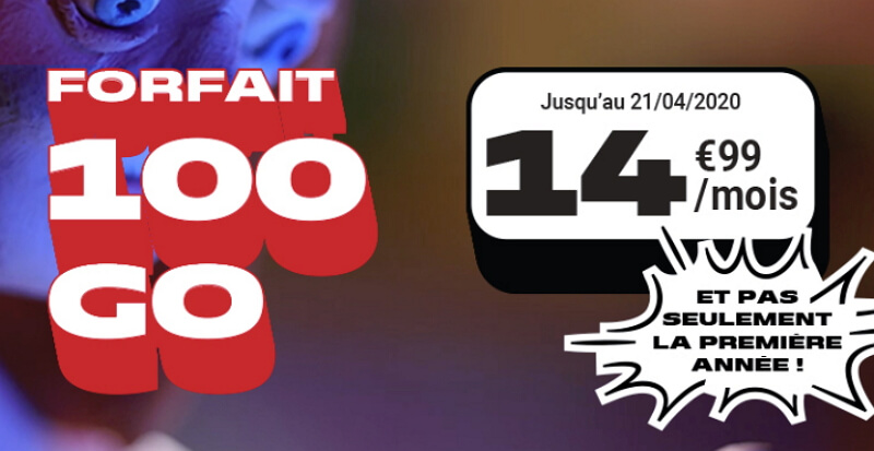 Forfait 100 Go en promotion chez NRJ Mobile à 14,99€/mois jusqu'au 21 avril 2020