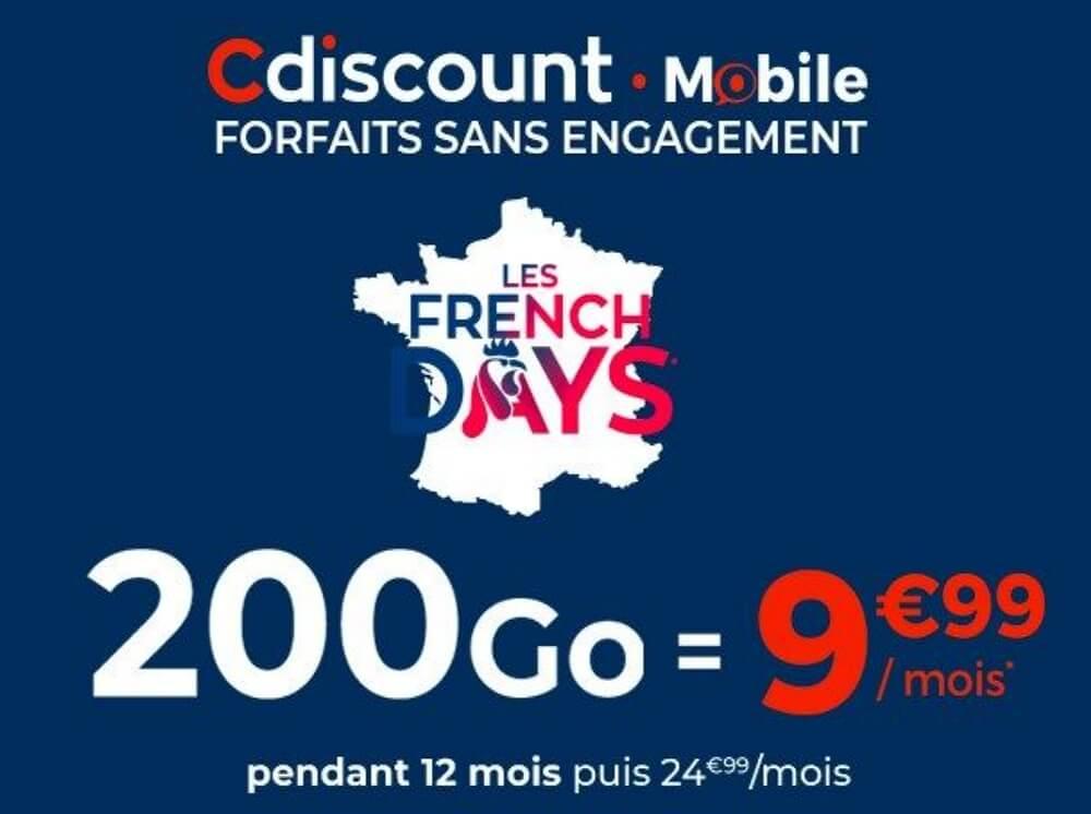 French Days Cdiscount : Forfait 200 Go en promo