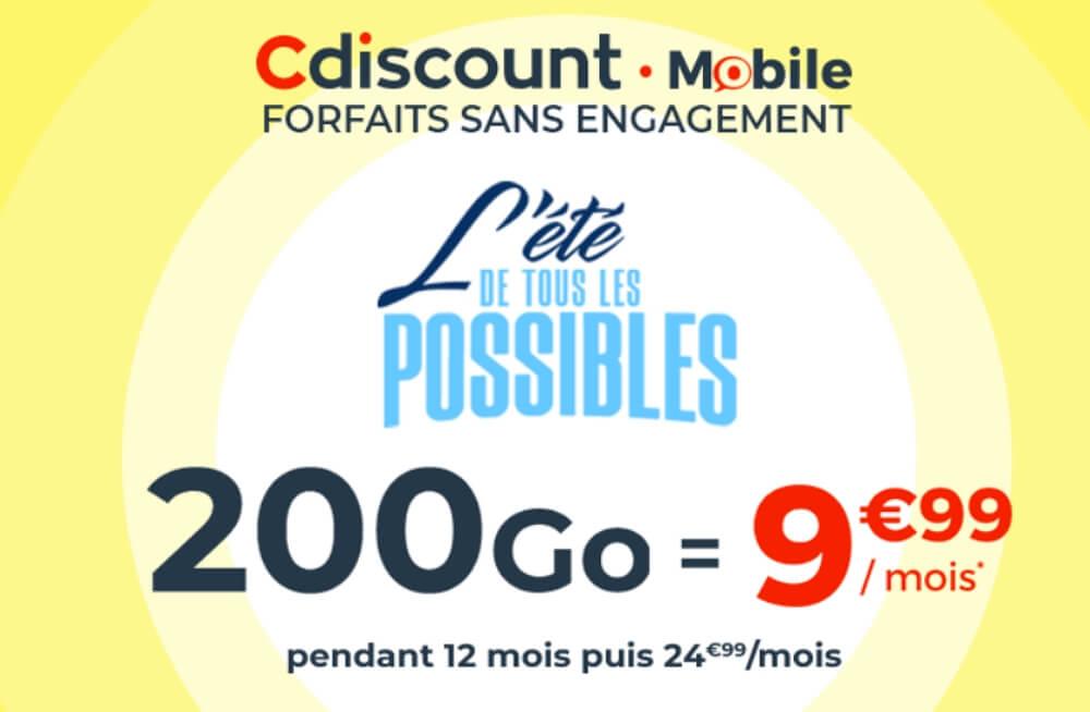 Forfait en promotion 200 Go chez Cdiscount Mobile en juin 2020