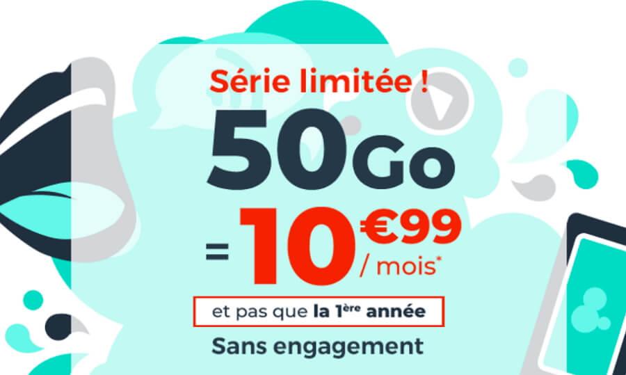 Le forfait mobile en promotion de Cdiscount en avril 2020 : 50 Go à 10,99 euros par mois