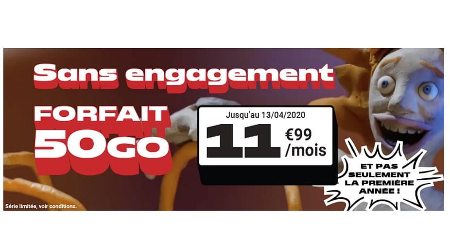Forfait 50Go en promotion chez NRJ Mobile jusqu'au 13 avril 2020