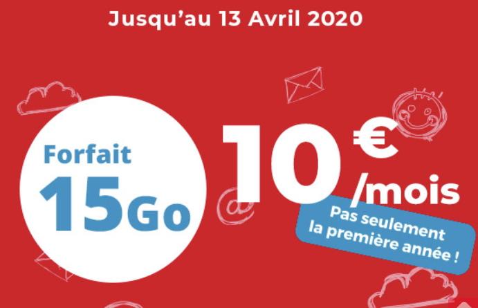 Promotion sur le forfait 15 Go d'Auchan Telecom à 10 euros par mois en mars 2020