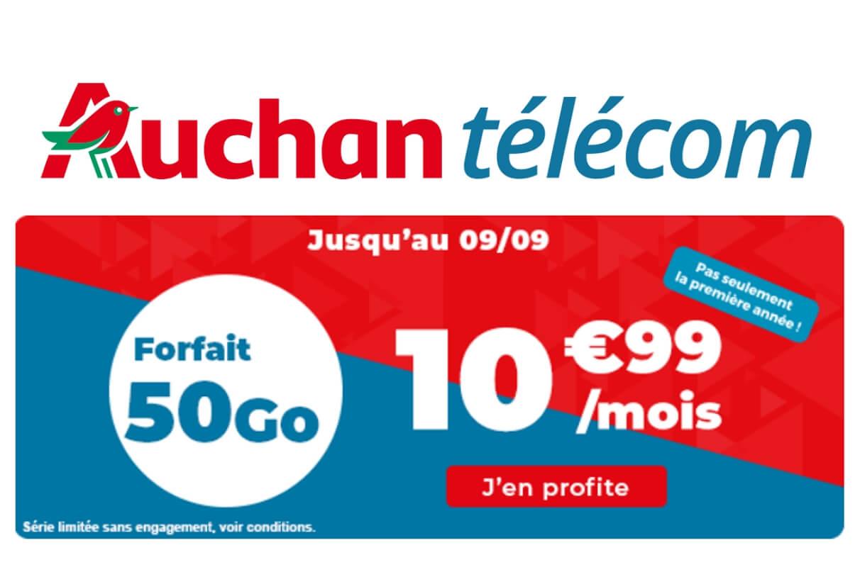 Forfait mobile en promotion chez Auchan Télécom : 50 Go pour 10,99€/mois