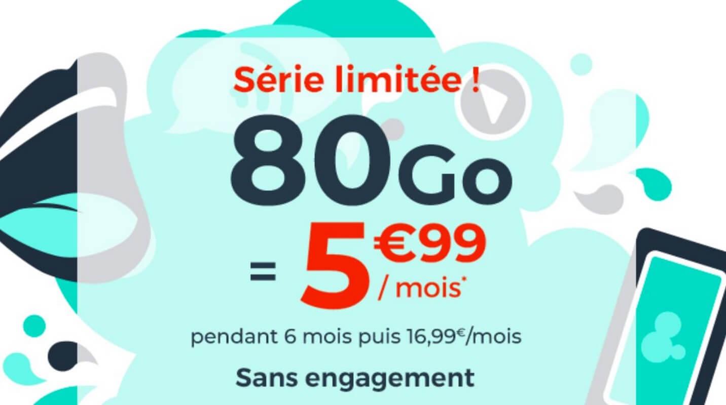 Le forfait en promotion Cdiscount Mobile : 80 Go à 5,99 euros par mois
