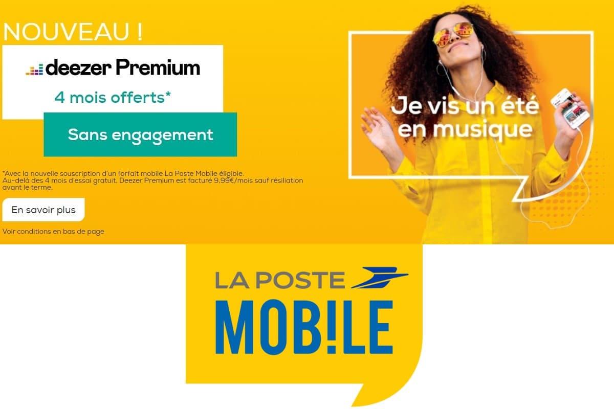Quatre mois d'abonnement à Deezer offert avec un forfait La Poste Mobile